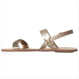 DV by Dolce Vita Vysta Flat Sandals - Gold Metallic Stella