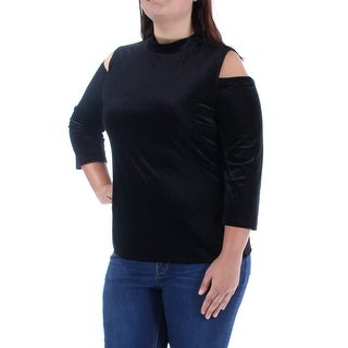 GUESS $49 Womens 1101 Black Turtle Neck 3/4 Sleeve Casual Top L B+B