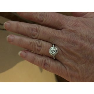Charles & Colvard 14k Gold 1.3-carat Round Moissanite Halo Engagement Ring