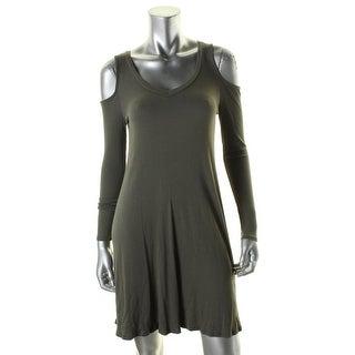 Aqua Womens Casual Dress Ribbed Cold Shoulder