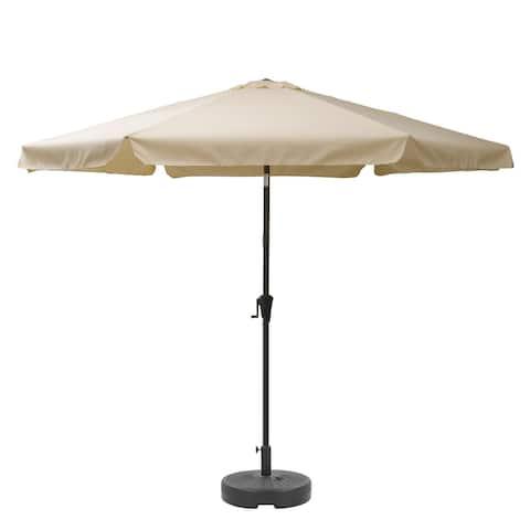 "CorLiving 10"" Round Tilting Warm White Patio Umbrella with Round Base"