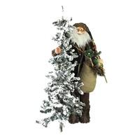 """48"""" Standing Woodland Santa Claus Christmas Figure with Axe and Flocked Alpine Tree - brown"""