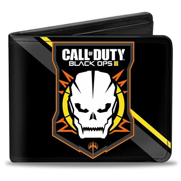 Call Of Duty Black Ops Iii Skull Icon 2 Stripe Black Gray Orange White Bi Bi-Fold Wallet - One Size Fits most