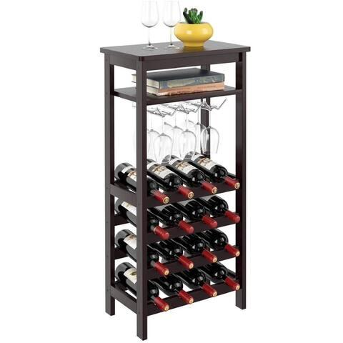 6 Tier Wine Rack Shelves Standing Table with Glass Holder 16 Bottles Capacity