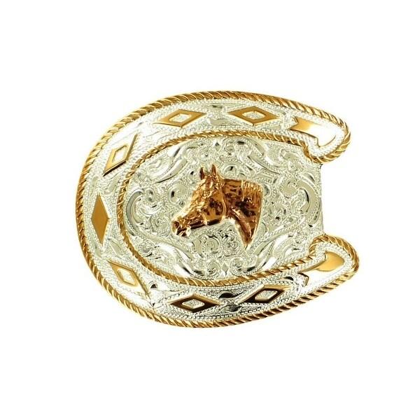 Crumrine Western Belt Buckle Quarterhorse Horseshoe Silver Gold - 3 1/2 x 3 5/8