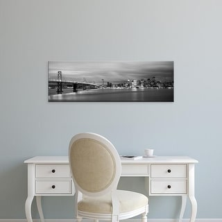 Easy Art Prints Panoramic Image 'Bridge lit up, Bay Bridge, San Francisco Bay, San Francisco, California' Canvas Art
