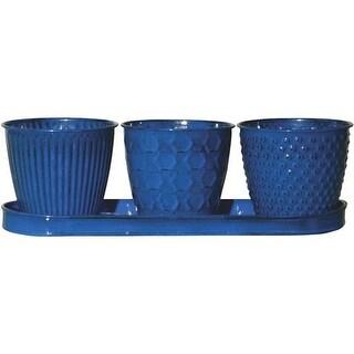 """Robert Allen 4"""" Ocn-Blue Planter Set MPT01910 Unit: EACH"""