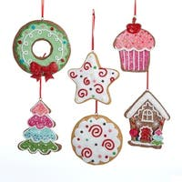 12 Gingerbread Kisses Claydough Gingersnap Cookie Christmas Dangle Ornaments - multi