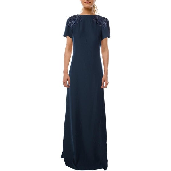 Tadashi Shoji Womens Evening Dress Crepe Beading