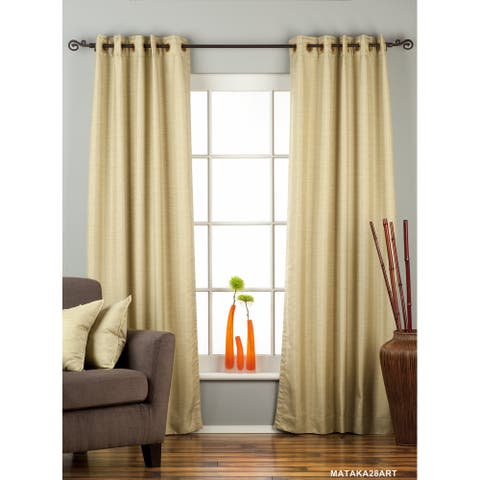 Olive Green Ring Top Matka Raw Silk Curtain / Drape / Panel - Piece