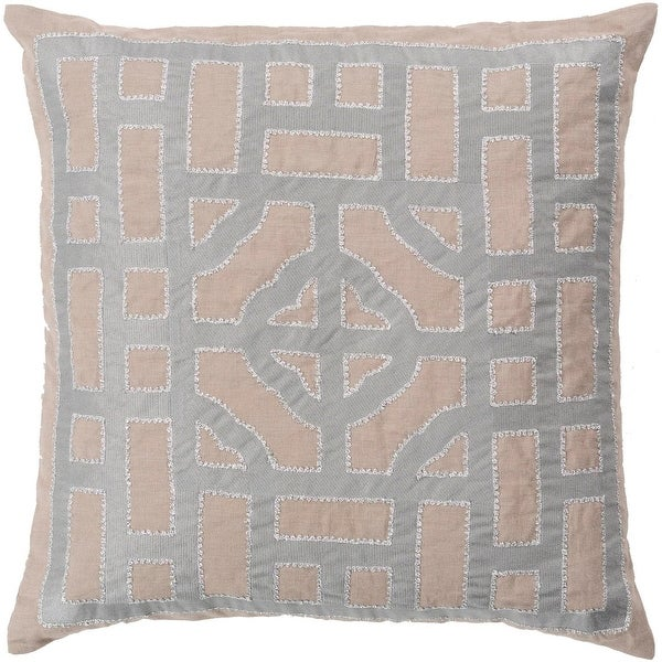 "22"" Cool Gray and Sandy Brown Decorative Throw Pillow – Down Filler"
