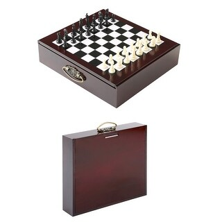 10-in-1 Portable Wood Board Game Set with Built In Storage Case - Brown - 11 in. x 11.75 in. x 2.75 in.