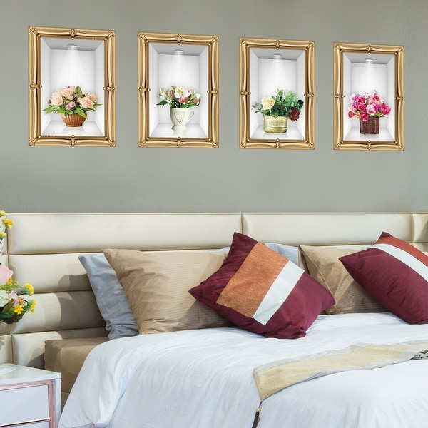 Walplus Golden Frame 3D Displayed Flowers Wall Sticker Peel and Stick. Opens flyout.