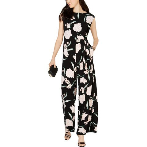 Jessica Howard Womens Jumpsuit Floral Wide-Leg - Black Multi