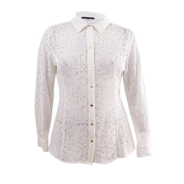 d551834c57d55b Shop Tommy Hilfiger Women s Long Sleeve Sheer Lace Blouse (XL
