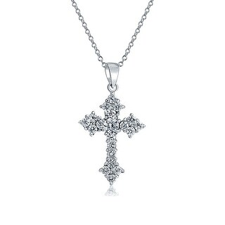 .925 Sterling Silver Round Cubic Zirconia Cross Pendant
