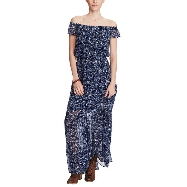 21656ad951 Denim Supply Ralph Lauren Floral Print Off The Shoulder Maxi Dress Lucy  Floral - xL
