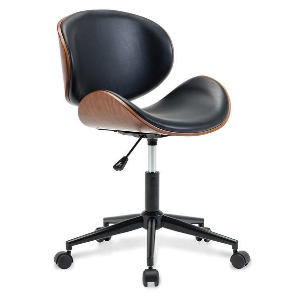 BELLEZE Modern Leather Upholstered Swivel Office Desk Chair w/ Adjustable  Height