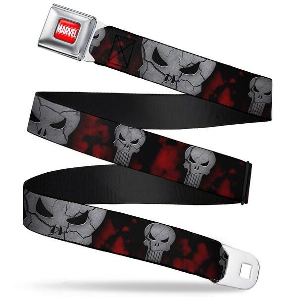 Marvel Universe Marvel Full Color Red White Stone Punisher Logo Scattered Seatbelt Belt