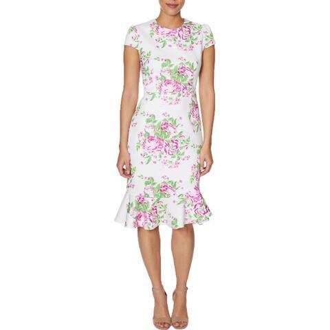 Betsey Johnson Womens Plus Flounce Dress Floral A-Line