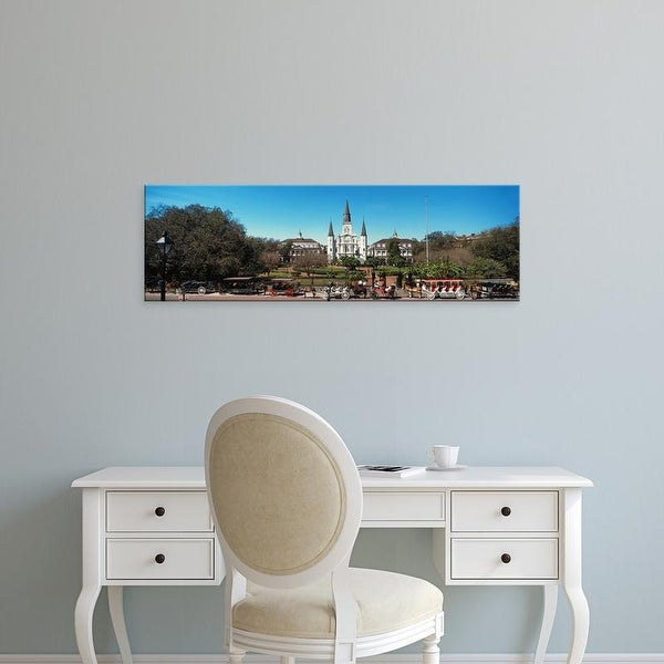 Easy Art Prints Panoramic Image 'Carriages, St. Louis Cathedral, Jackson Square, New Orleans, Louisiana' Canvas Art