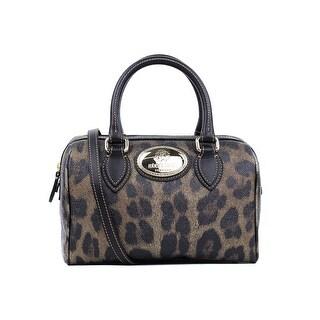 Roberto Cavalli Firenze Black Leather Leopard Print Satchel Shoulder Bag