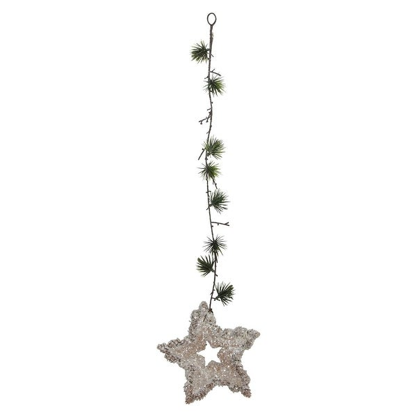"""25"""" Artificial Mini Pine Needle Sprig and Star Hanging Spray - brown"""