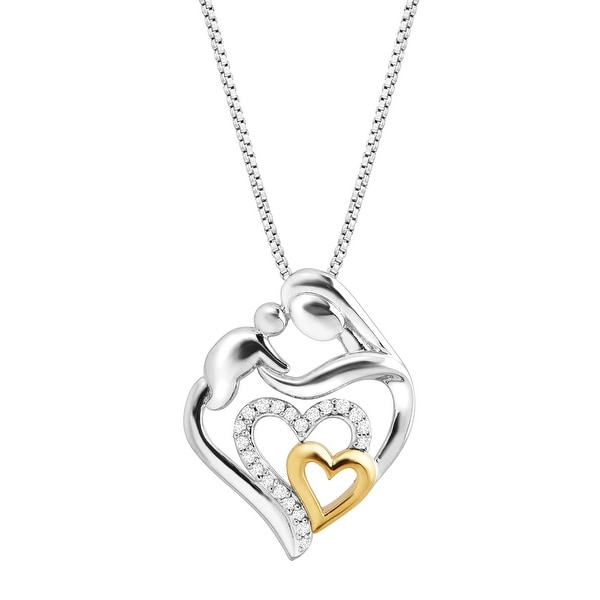 1/10 ct Diamond Mother & Child Heart Pendant in Sterling Silver & 14K Gold