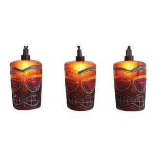 Set of 10 Tropical Paradise Decorated Brown Party Patio Tiki Lights - Brown Wire