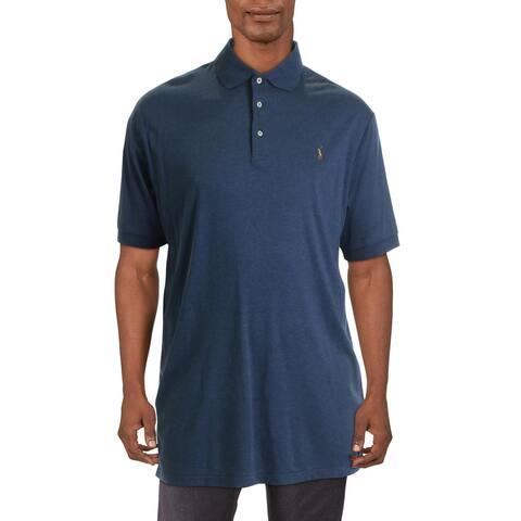 Polo Ralph Lauren Mens Big & Tall Polo Shirt Logo Short Sleeve - Blue Heather - XLT