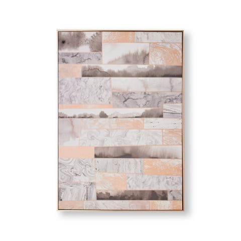 """Graham and Brown 104020 Rose Quartz Dimension 39"""" x 28"""" Framed Abstract Painting on Stretched Canvas - Rose Gold"""