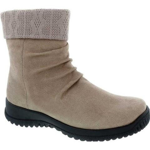 Drew Women's Kalm Slouch Ankle Boot Stone Microsuede