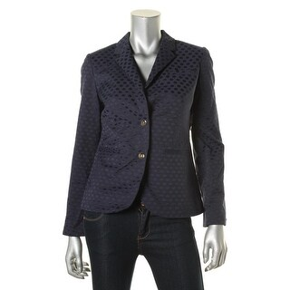 Tommy Hilfiger Womens Printed Long Sleeves Two-Button Blazer - 2