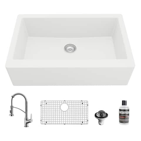 Karran All-in-One Apron Front/Farmhouse Quartz 34-in Single Bowl Kitchen Sink in White with Faucet KKF210 in Stainless Steel