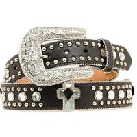 Blazin Roxx Western Belt Womens Leather Crystal Cross Black