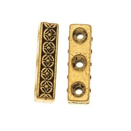 TierraCast 22K Gold Plated Pewter Deco Rose 3-Strand Spacer Beads (2)