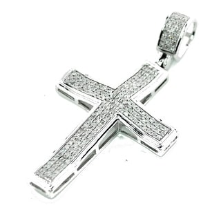 10K White Gold Real Diamond Cross Charm Pendant 1/3ctw 40mm Tall 1.57 Inch (i2/i3, j/k) By MidwestJewellery