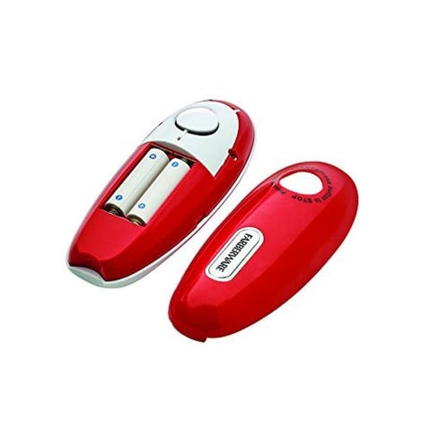 Farberware Hands Free Automatic Battery Operated Can Opener - Opens All Size Cans, Compact Design - Red