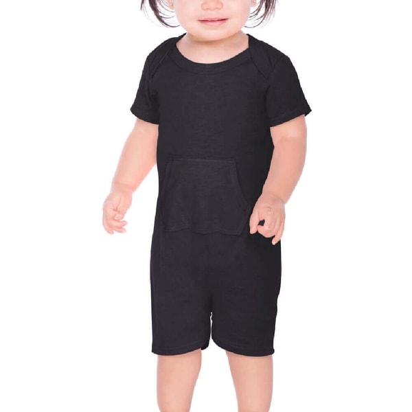 Kavio!Infants Sheer Jersey Lap Shoulder Short Sleeve Romper W. Pocket
