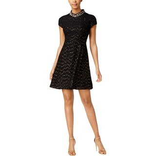 Vince Camuto Womens Cocktail Dress Textured Embellished
