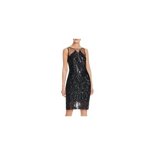 Adrianna Papell Womens Cocktail Dress Sequined Mesh