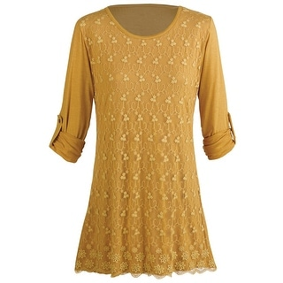 Women's Tunic Top - Embroidered Lace Roll Tab Sleeve Blouse