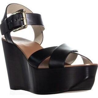Michael Kors Peggy Wedge Ankle Strap Sandals, Black - 9 us