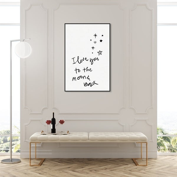 Oliver Gal 'Moon and Back and Stars' Typography and Quotes Wall Art Framed Canvas Print Family - Black, White. Opens flyout.