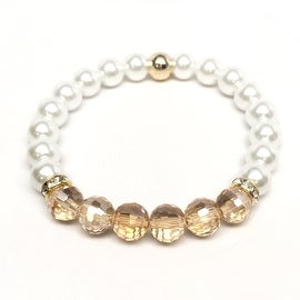 Pearl & Champagne Crystal 'Glow' stretch bracelet 14k Over Sterling Silver