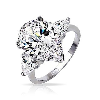 Bling Jewelry Sterling Silver Classic 3 Stone Pear CZ Engagement Ring