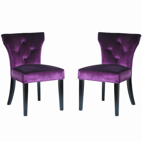 Fabric Side Chair with Button Tufted Back and Padded Seat, Set of 2, Purple