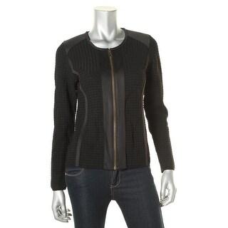 Calvin Klein Womens Textured Knit Collarless Jacket - M