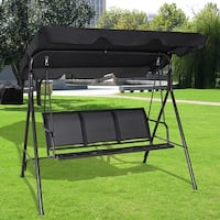 Costway Outdoor Patio Swing Canopy 3 Person Canopy Swing Chair Patio Hammock Black - as pic