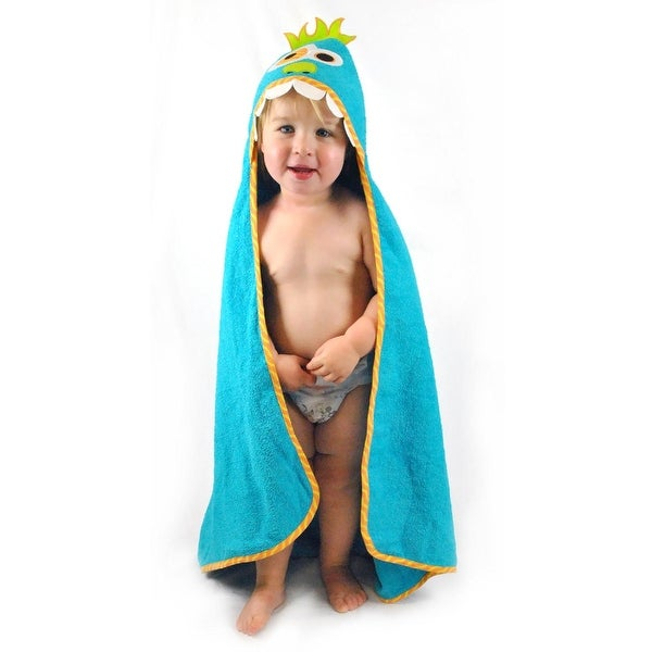"32"" x 32"" Blue Solid Pattern Monster Printed Kids Hooded Towel with Piping"